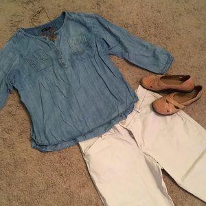 Chambray denim pull over blouse Lane Bryant, 14/16